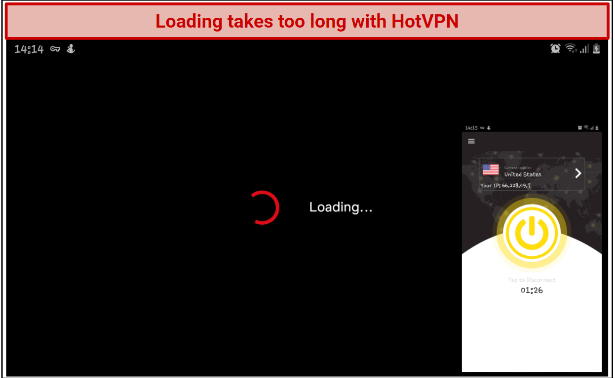 Screenshot showing that Netflix takes too long to buffer with HotVPN.
