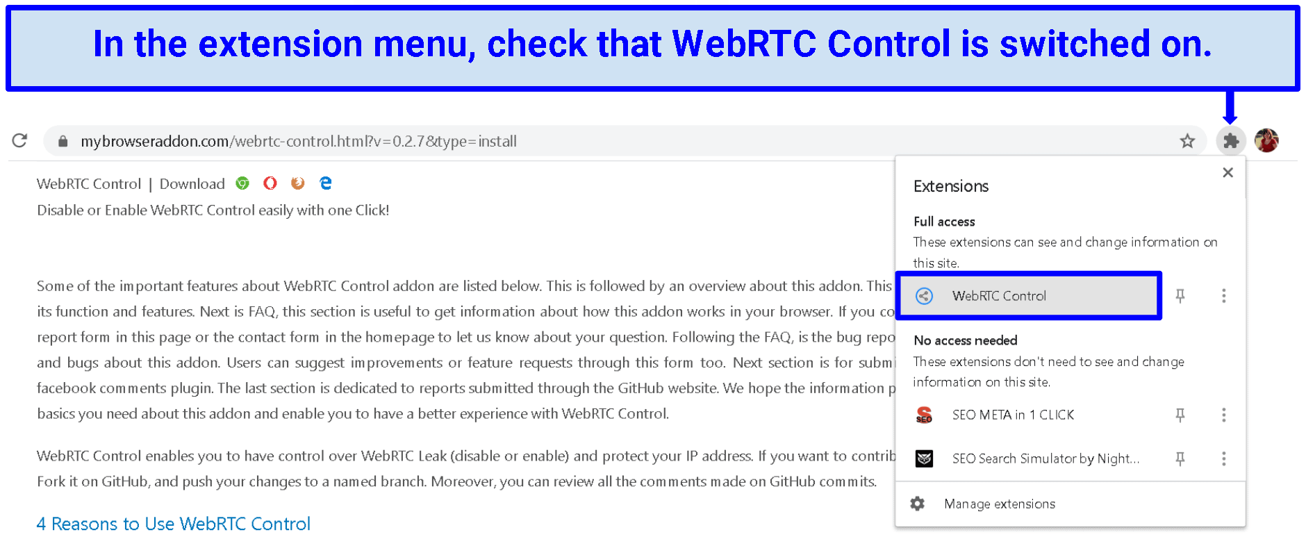 A screenshot of the Chrome extension menu that shows WebRTC is working.