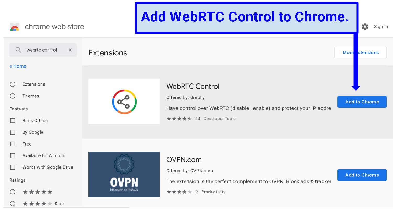 A screenshot of the WebRTC Control Installation page.