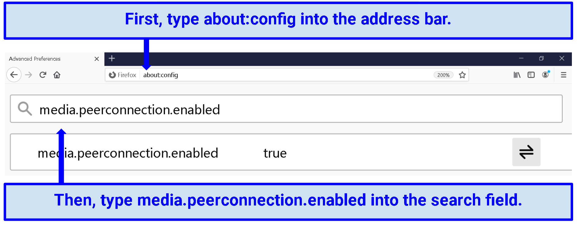 "A screenshot of the ""about:config"" menu in Firefox displaying that WebRTC is enabled."