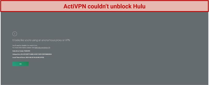 screenshot of Hulu player geoblocked with ActiVPN