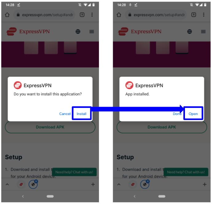 Screenshot showing how to install ExpressVPN on Android