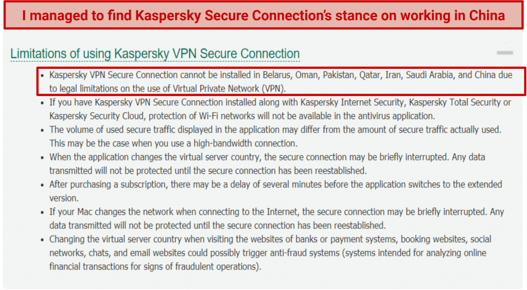 Graphic showing Kaspersky Secure's policy on China