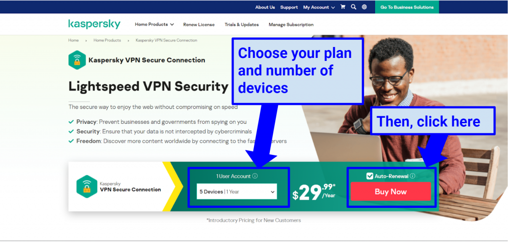 raphic showing Kaspersky Secure pricing plans