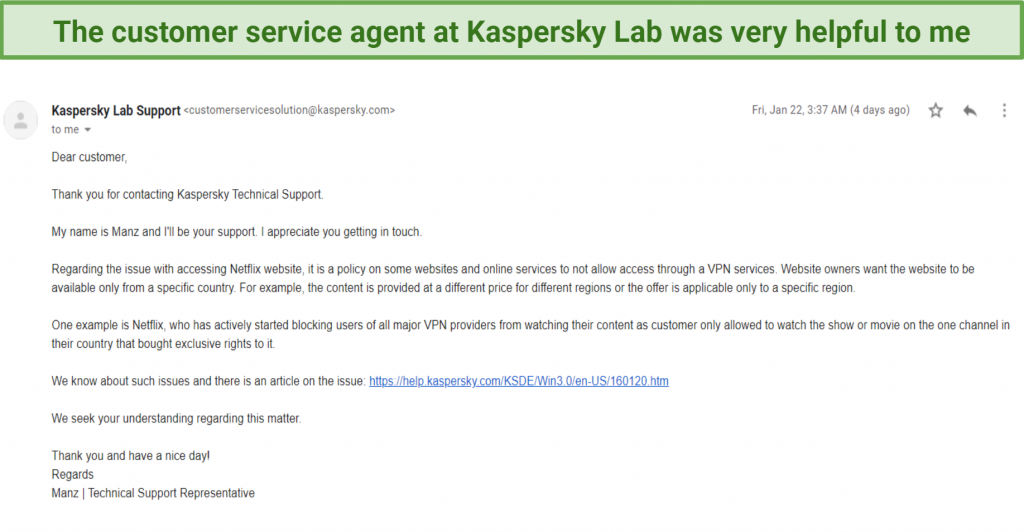 Graphic showing customer support email from Kaspersky Secure