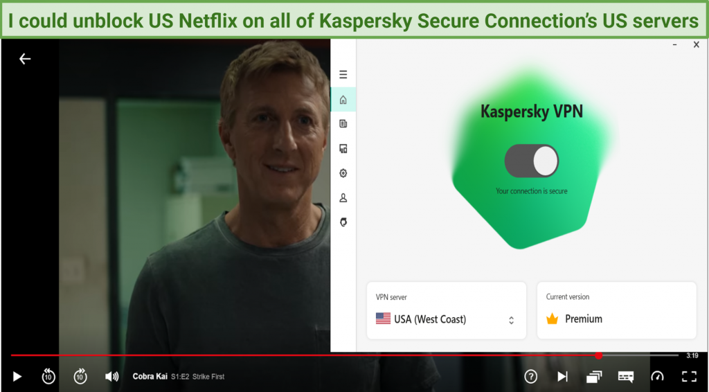 Graphic showing Kaspersky Secure working on Netflix