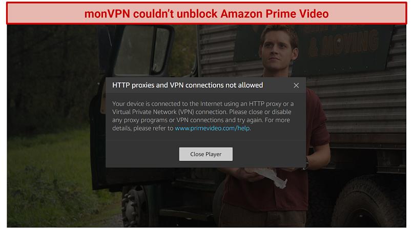 screenshot of Amazon Prime Video error message