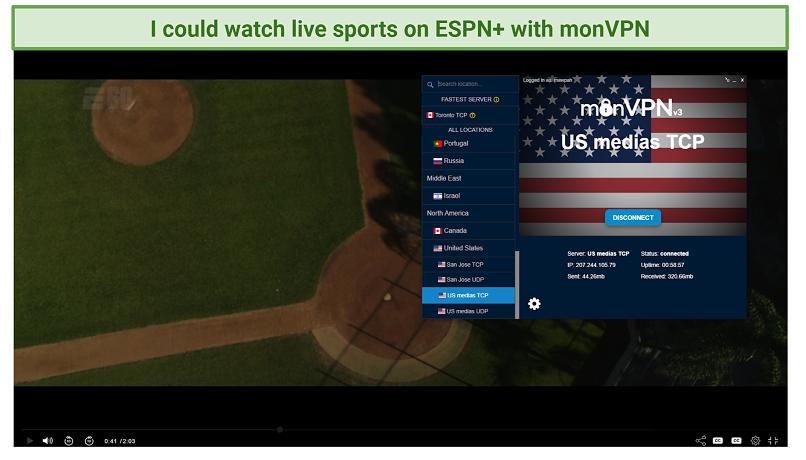 screenshot of ESPN+ player unblocked by monVPN
