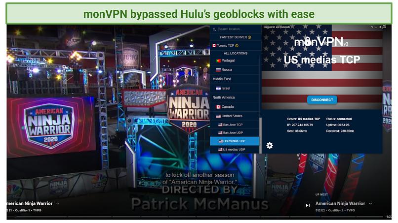 screenshot of Hulu player streaming American Ninja Warrior unblocked by monVPN