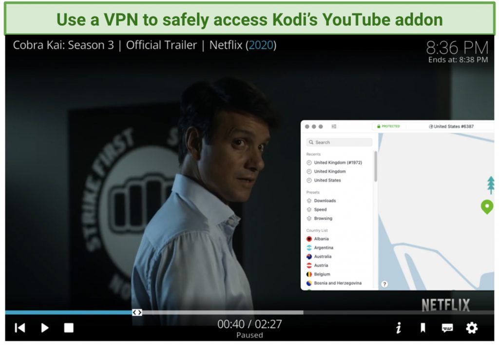 screenshot of kodi player with youtube addon and nordvpn interface