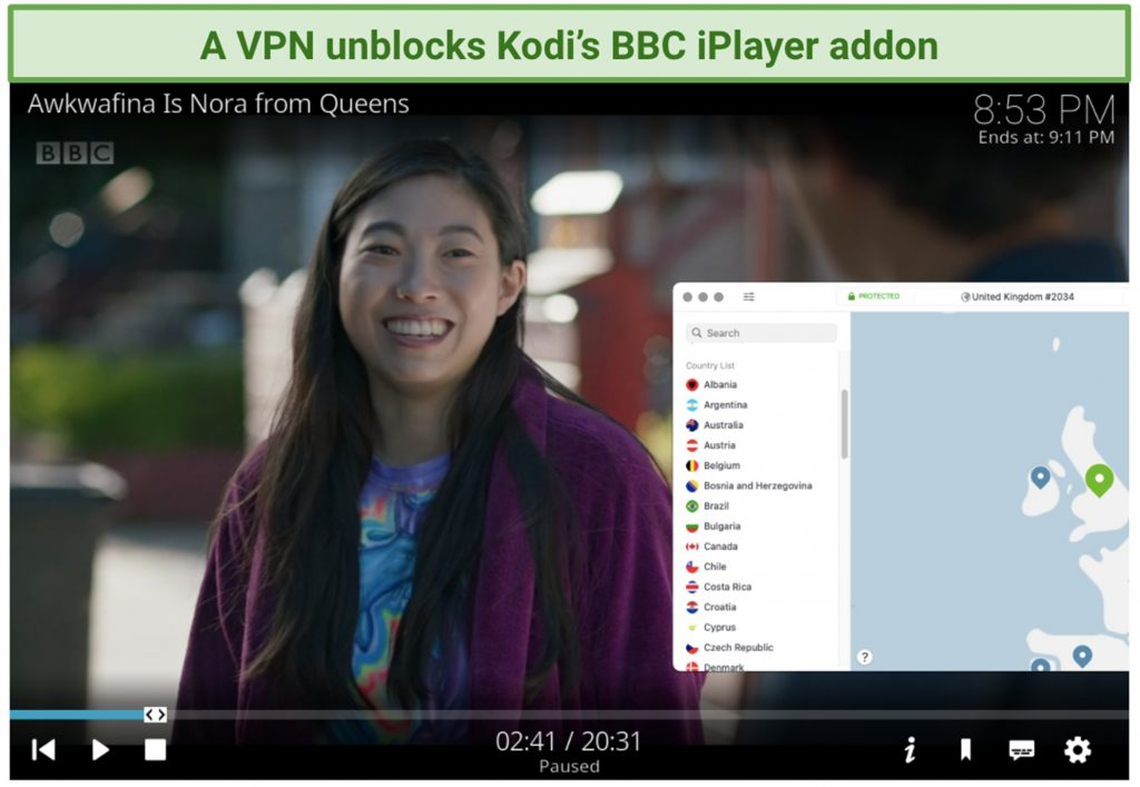 screenshot of kodi player streaming a bbc iplayer show