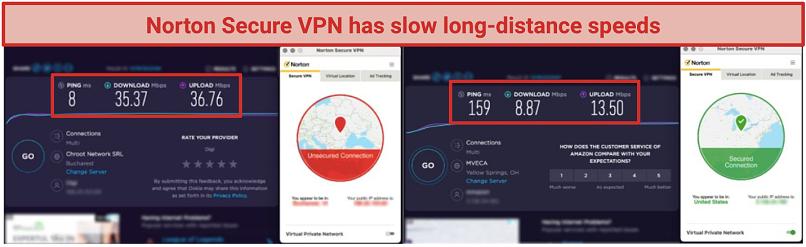 screenshots of norton secure vpn's long distance speed tests