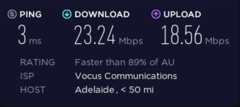 Speed test before connecting to a Whoer VPN server.