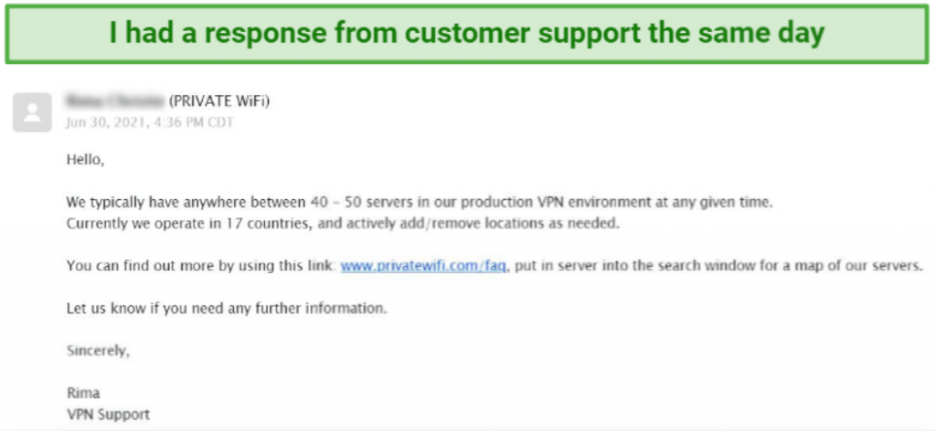 screenshot of private wifi's email support reply