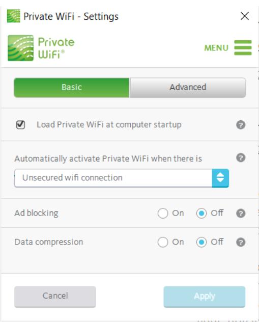 A screenshot of the Private WiFi app