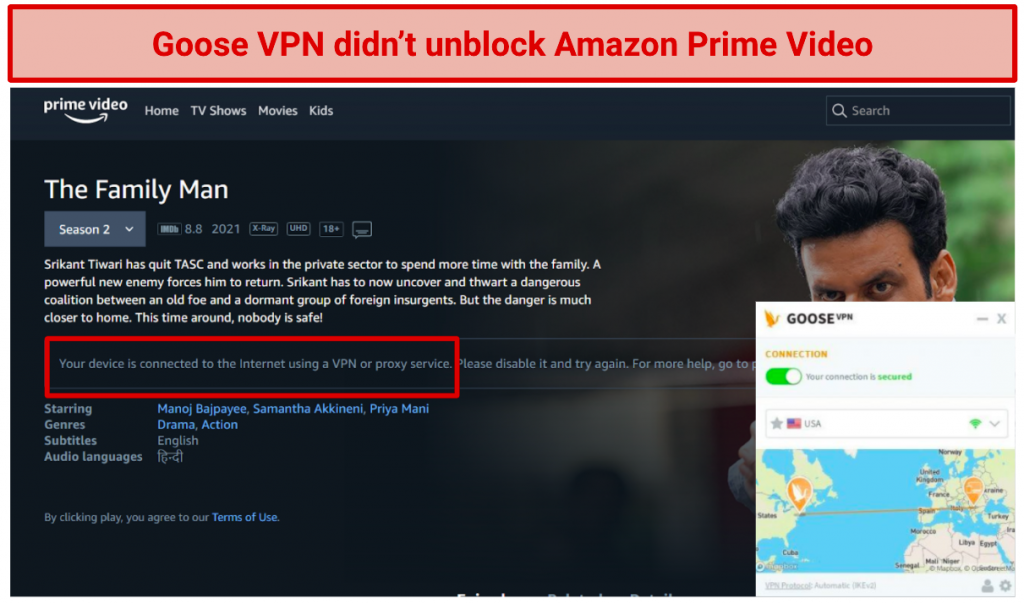 Image showing Amazon Prime Video blocked after connecting to a GooseVPN server in the US