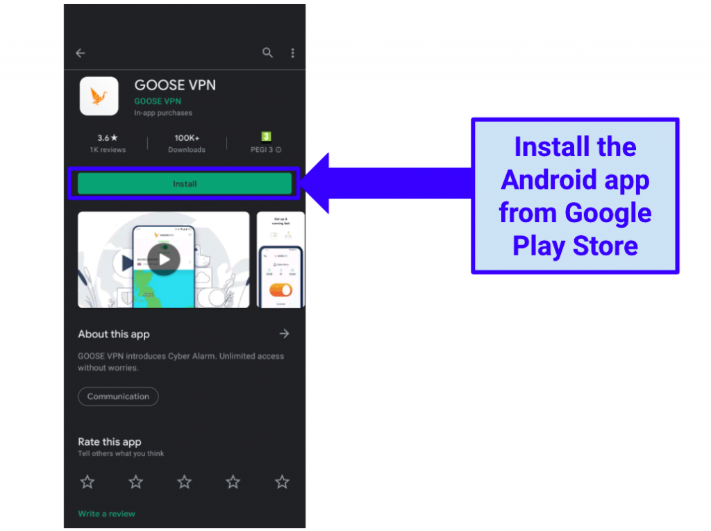 Image showing installation of Goose VPN via the Google Play Store