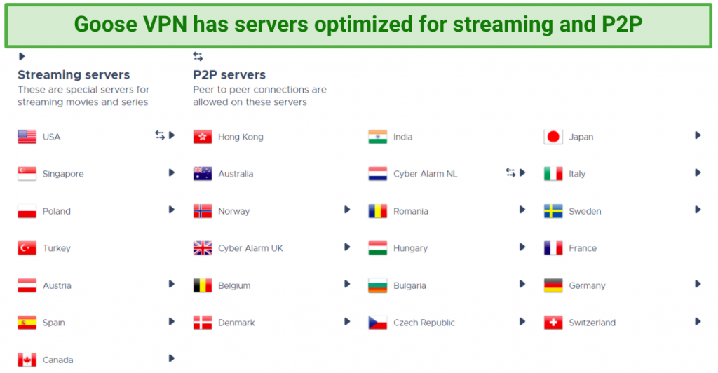 Image showing Goose VPN servers listed for streaming and P2P