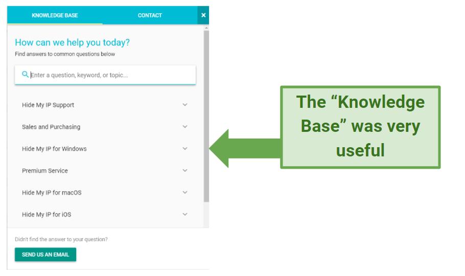 Screenshot showing Hide My IP's Knowledge Base