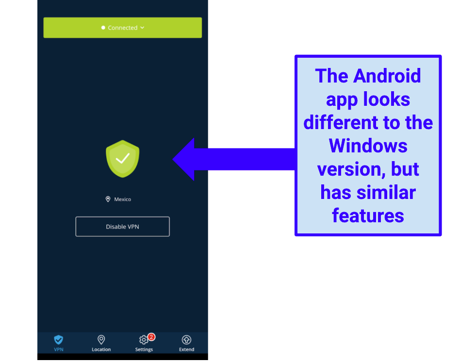 Image showing Hide.me Android app main screen