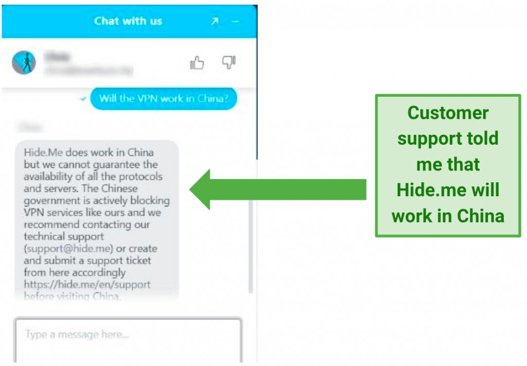 Image showing live chat advising that Hide.me will work in China