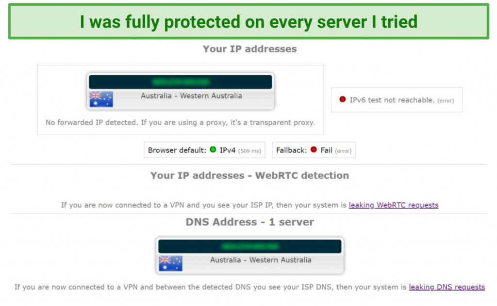 Image showing additional leak test with no DNS, IP, WebRTC, or IPv6 leaks