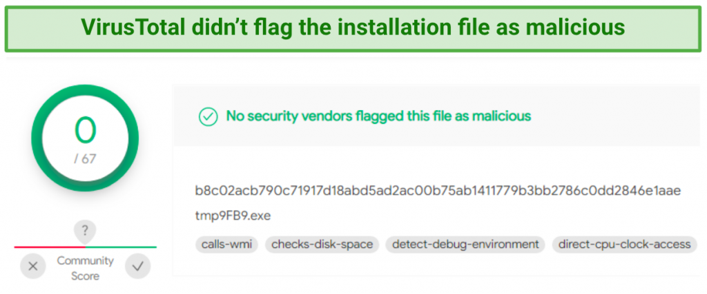 Image showing VirusTotal scan results with no malicious findings for Hide.me installation file