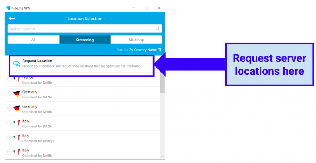 Image showing option to request additional servers in Windows app