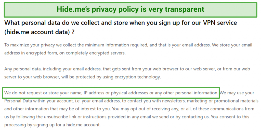 Image showing Hide.me's transparent privacy policy