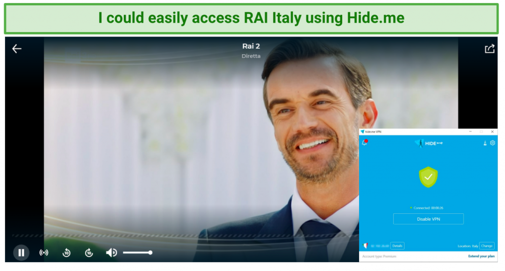 Image showing RAI unblocked after connecting to a Hide.me server in Italy