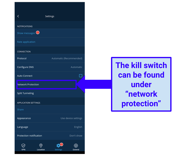 Image showing kill switch location in Hide.me Windows app