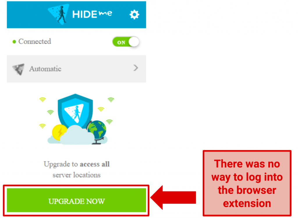 Image showing no option to log in on Hide.me extension