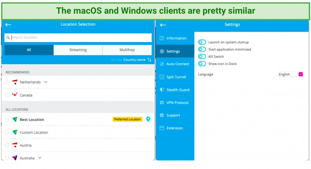 screenshot of Hide.me's macOS client