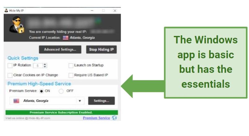 Screenshot showing basic functions of Hide My IP Windows app
