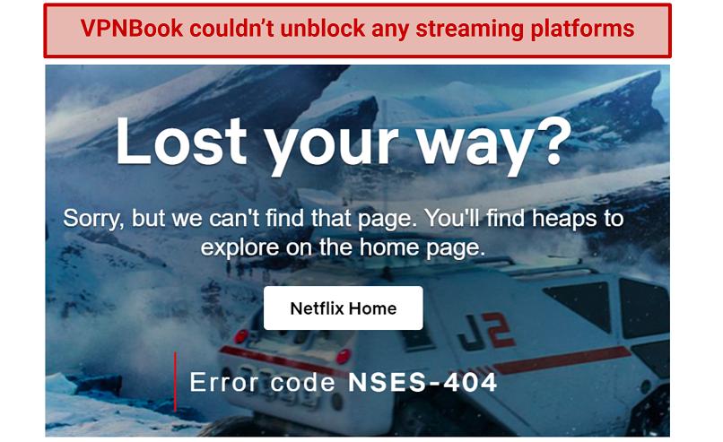 Image showing VPNBook failing to unblock Netflix
