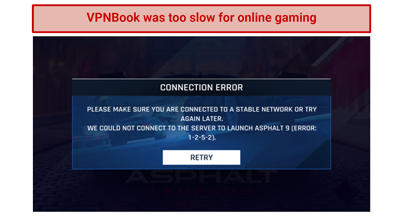 Image showing VPNBook unable to load an online racing game