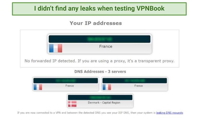 Image showing VPNBook leak test with no IP, DNS, WebRTC, or IPv6 leaks