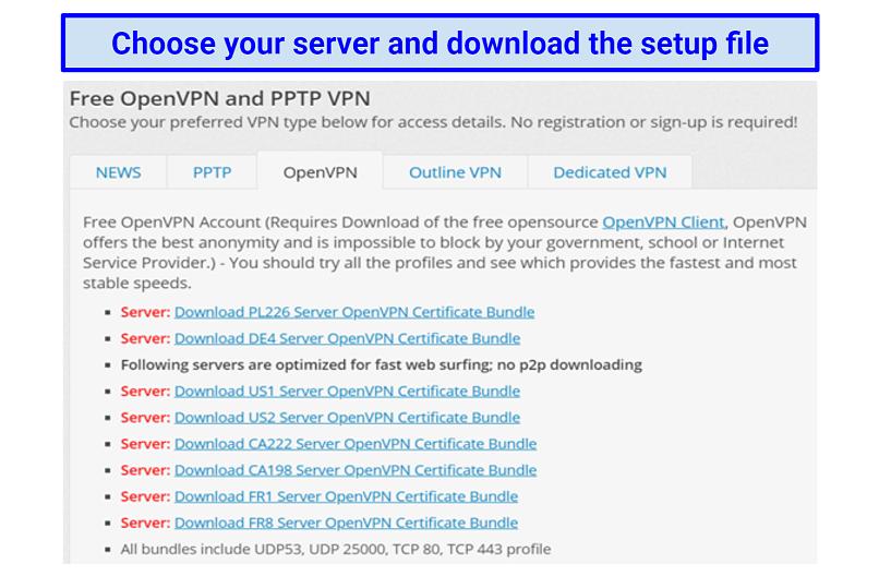 Image showing list of VPNBook OpenVPN server options