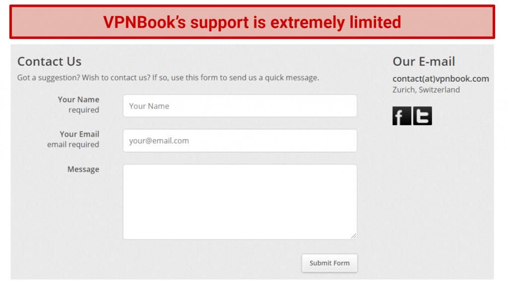 Image showing VPNBook's online support form