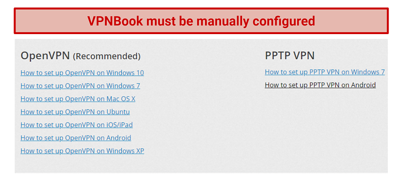 Image showing OpenVPN and PPTP setup guides for VPNBook