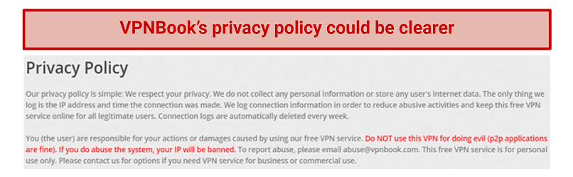 Image showing VPNBooks vague privacy policy