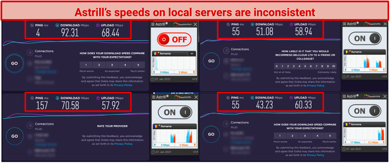 A screenshot of Astrill's local speed tests.
