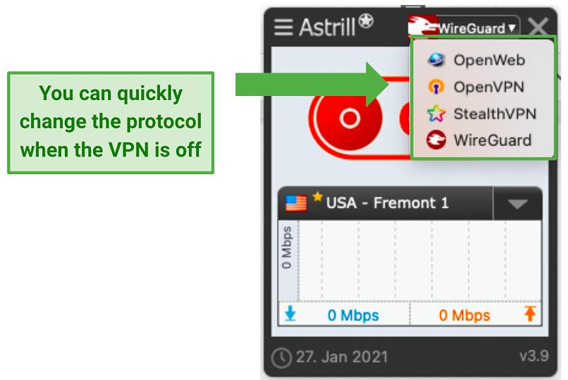 A screenshot of Astrill VPN's protocols.