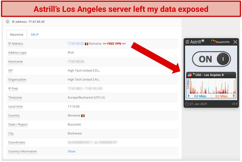 Screenshot of Astrill VPN's leak test.