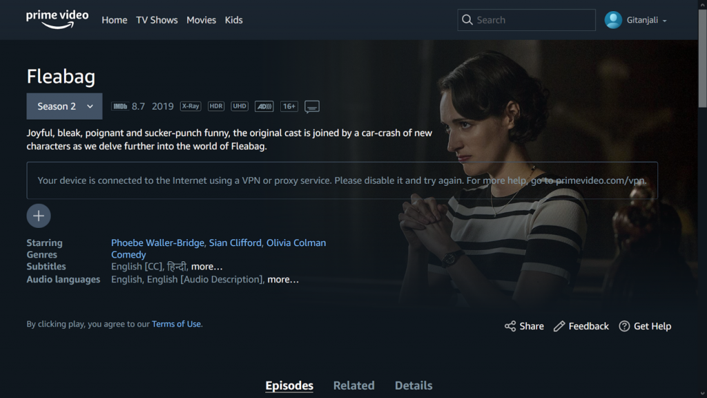 A screenshot of Seedboxes.cc failing to unblock Amazon Prime Video