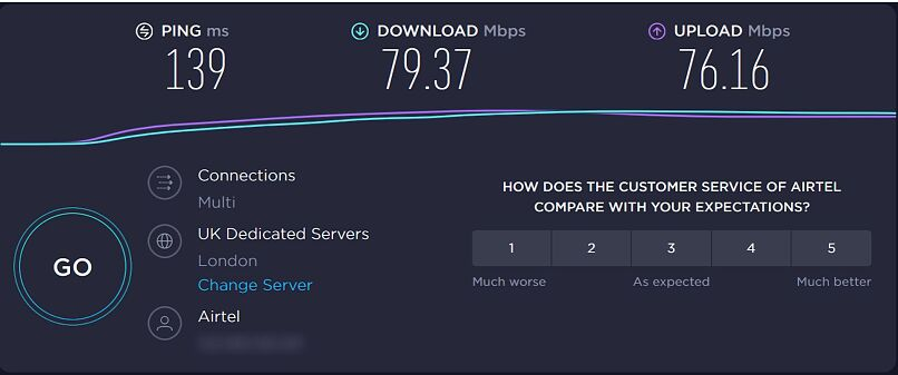 A screenshot of Seedboxes.cc's speeds in London