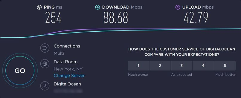 A screenshot of Seedboxes.cc's speeds in New York