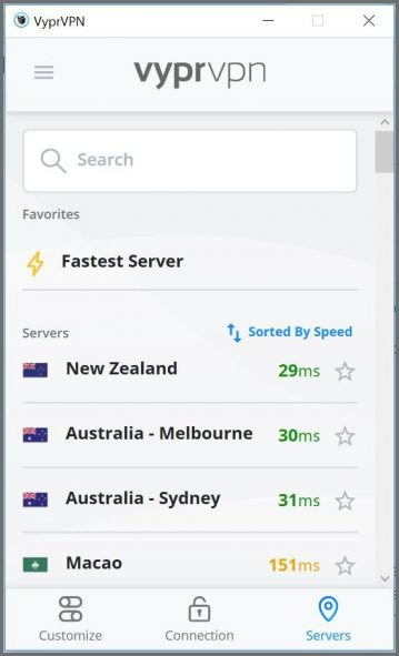 Server selection interface