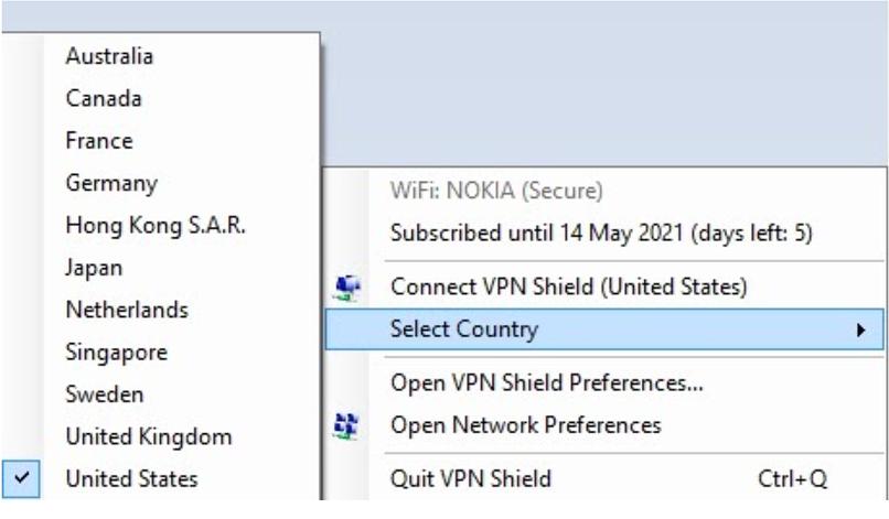 A screenshot of the VPN Shield app