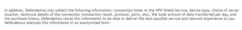 A screenshot of VPN Shield's privacy policy